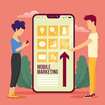 Mobile marketing illustration concept
