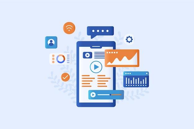 Mobile marketing  illustration flat style