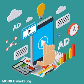 Mobile marketing isometric illustration