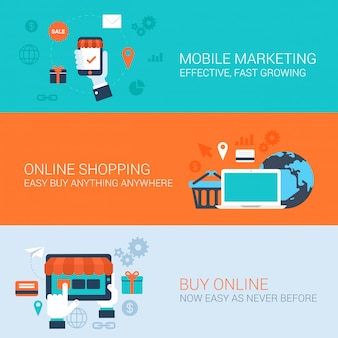 Mobile marketing online shopping buy easy pay concepts flat style illustrations.