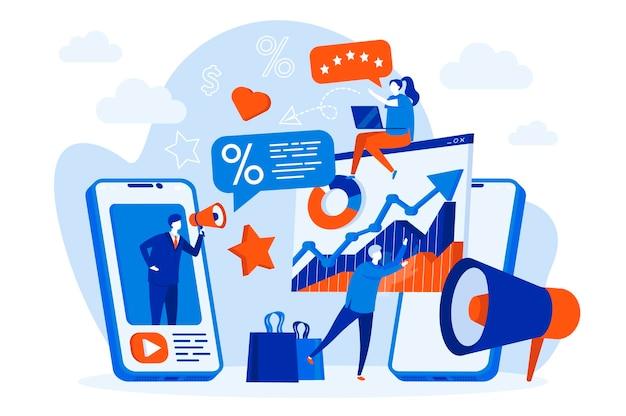 人々のイラストとモバイルマーケティングのwebコンセプト