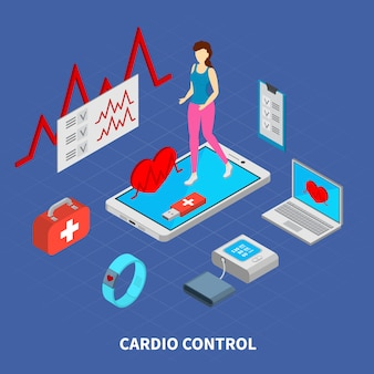 Mobile medicine composition with cardio control symbols isometric  illustration