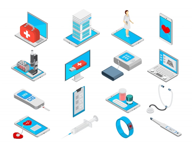 Mobile medicine isometric icons set with treatment symbols isolated  illustration