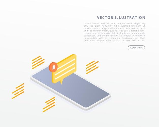 Иллюстрация концепции уведомления мобильного сообщения