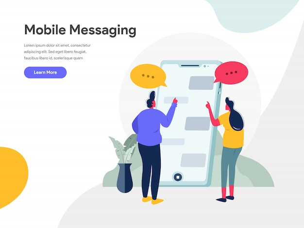 Mobile messaging illustration concept