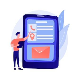 모바일 메시징. 현대 통신 기술, 온라인 채팅, sms 문자 메시지. 현대적인 여가 활동. 스마트 폰으로 이메일받은 편지함을 확인하는 사람.