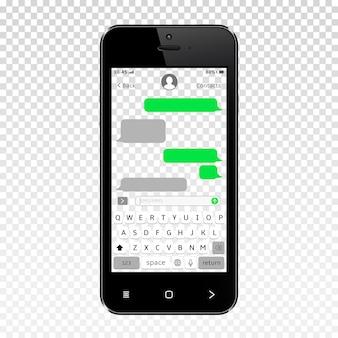 スマートフォンの透明な画面上のモバイルメッセンジャー