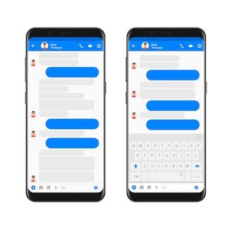 スマートフォンの画面上のモバイルモダンuiキットメッセンジャー。モバイルキーボードで空のチャットバブルとチャットアプリテンプレート。電話ソーシャルネットワークの概念。