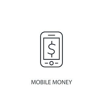 Значок линии концепции мобильных денег. простая иллюстрация элемента. мобильные деньги концепция наброски символ дизайн. может использоваться для веб- и мобильных ui / ux