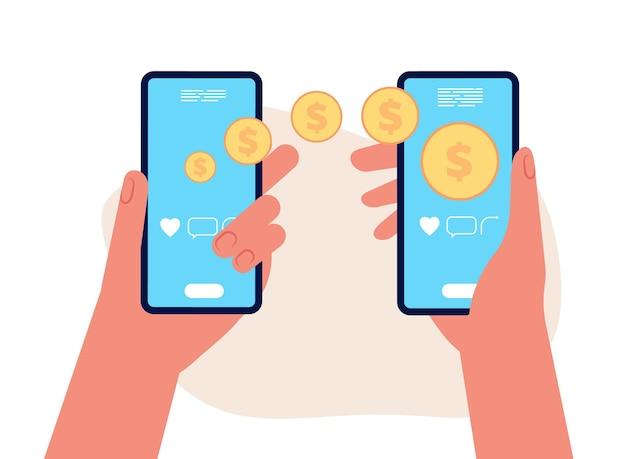 モバイル送金。手はスマートフォン、他の人に飛んでいる金貨を持っています。電子財布または電子支払いのベクトル図。モバイルマネーの送金、オンラインでの支払い取引