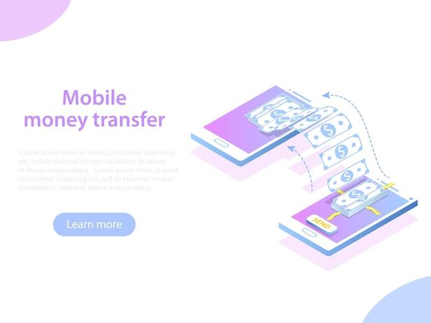 Мобильный денежный перевод изометрической иллюстрации