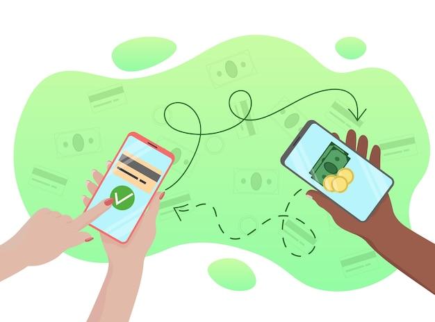 모바일 송금 사람들의 손에 있는 스마트폰 화살표는 송금의 방향을 보여줍니다