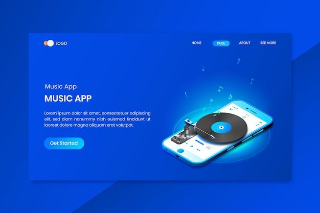モバイル音楽アプリのアイソメトリックコンセプトのランディングページ