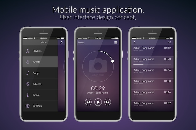 Mobile music application interface design concept on dark flat illustration