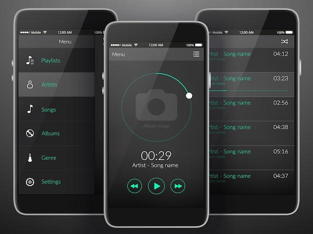 暗い色のフラットイラストのモバイル音楽アプリケーションインターフェイスのデザインコンセプト