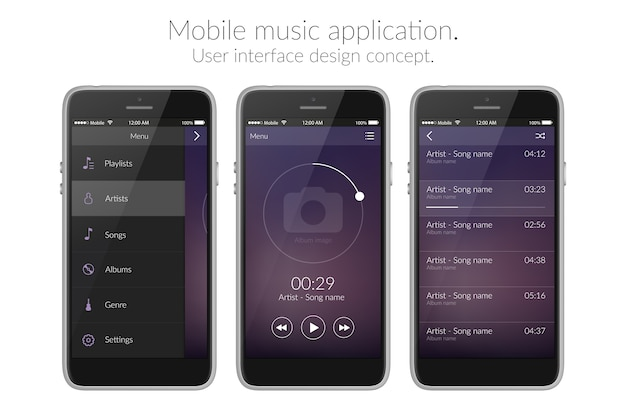 Mobile music application user interface design concept on white flat illustration