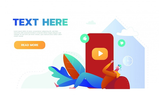 Mobile music application website landing page. young man listening to music and active lifestyle, male character spend time with music app page banner. cartoon flat illustration