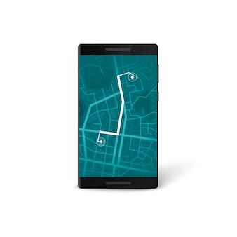 モバイルナビゲーションアプリのインターフェース。地図とgpsナビゲーションの概念。ルートがマークされた電話画面の市街地図。