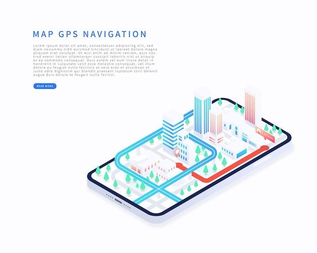 Приложение для мобильной навигации в изометрической векторной иллюстрации изометрический план города со зданиями дорога gps-слежение на смартфоне карта gps-навигация в мобильном приложении векторная иллюстрация