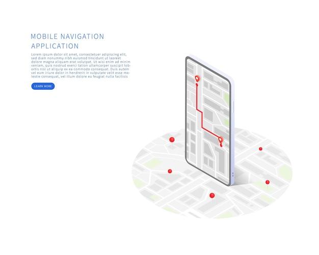 Приложение для мобильной навигации в изометрической векторной иллюстрации изометрический план города со зданиями, отслеживание дорог с помощью gps на смартфоне карта в мобильном приложении векторная иллюстрация