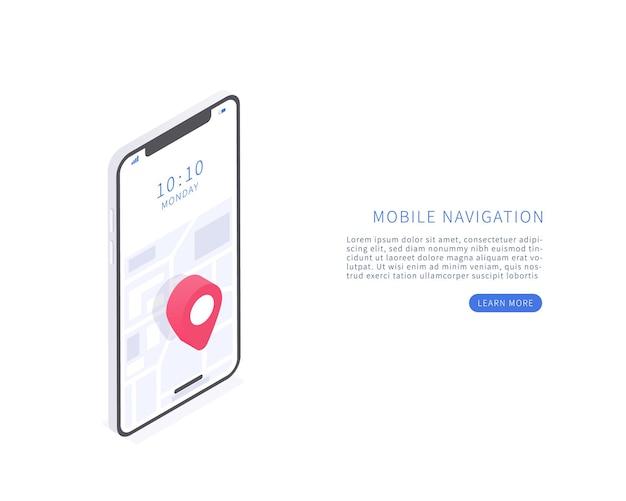 Приложение для мобильной навигации в изометрической векторной иллюстрации