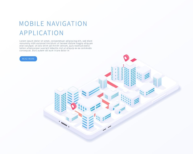 Mobile navigation application in isometric vector illustration city isometric plan with buildings road gps tracking on smartphone map on mobile application vector illustration