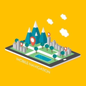 Концепция мобильной навигации 3d изометрическая инфографика со сценой города появилась с планшета