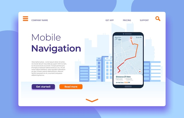 Mobile navigation landing page, smartphone with gps application on screen