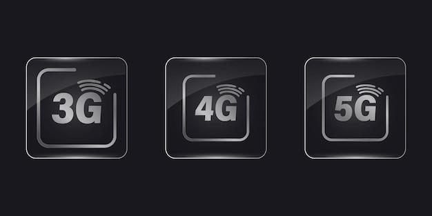 모바일 네트워크 3g, 4g 및 5g 벡터 아이콘. 5g 4g 3g 인터넷 아이콘 세트입니다. 유리 프레임, 현실적인 벡터 일러스트 레이 션. 정사각형 응용 프로그램 투명 유리 버튼