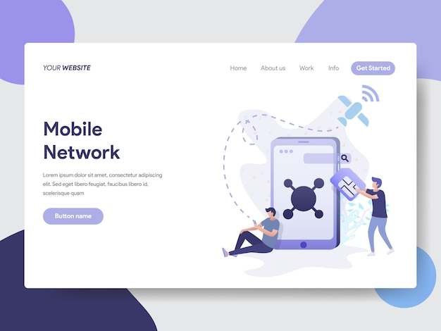 Mobile network illustration for web pages