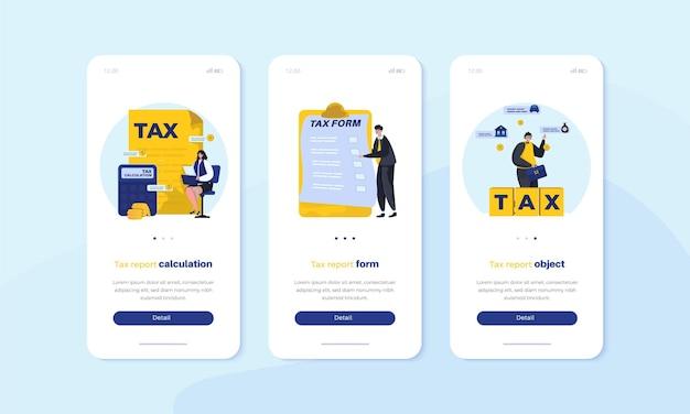 Мобильный бортовой экранный пользовательский интерфейс с концепцией иллюстрации налогового отчета Premium векторы