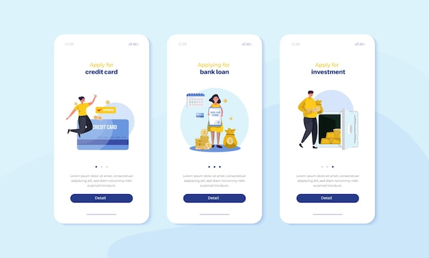 Mobile onboard screen with apply credit card loan money and financial investment illustration