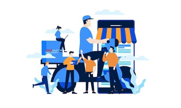 Mobile online shop mini people shopping online fastdeliveryフラット