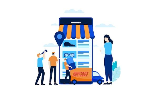 モバイルオンラインショップミニの人々オンラインショッピング高速配達トラック輸送貨物フラット