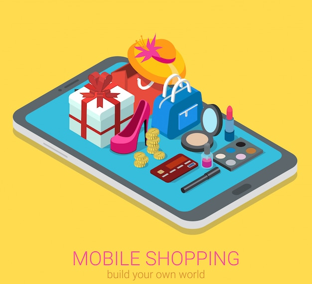 Mobile online shopping concept. cosmetics goods on tablet isometric .