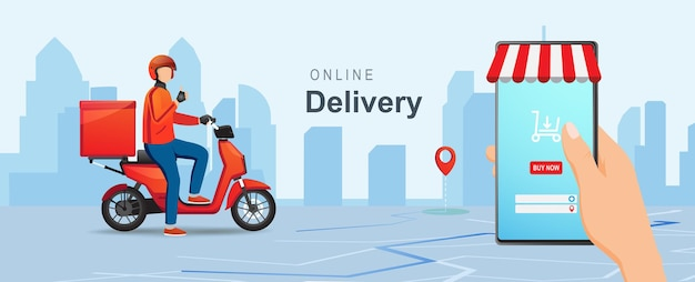 Mobile online shopping delivery concept delivery package with scooter
