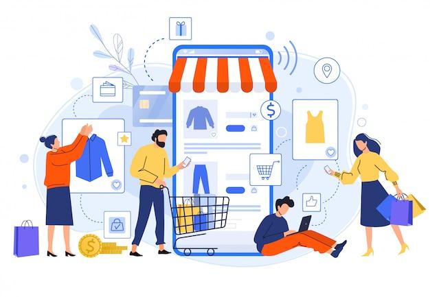 모바일 온라인 쇼핑. 사람들은 온라인 상점에서 드레스, 셔츠 및 바지를 구입합니다. 인터넷 판매 평면 그림에 사는 쇼핑객. 온라인 의류 매장. 할인, 총 판매 개념