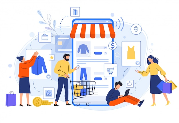 Mobile online shopping. people buy dresses, shirts and pants in online shops. shoppers buying on internet sale flat illustration. online clothing store. discount, total sale concept