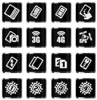 Мобильный или сотовый телефон, смартфон, набор иконок спецификаций и функций