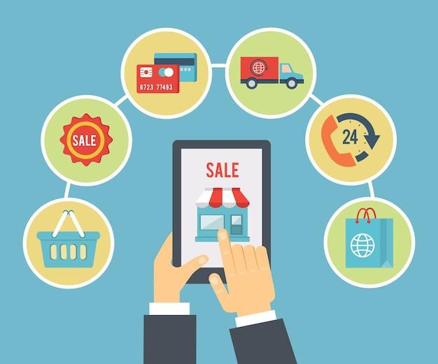 Мобильный заказ и иллюстрация оплаты