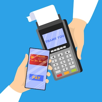Mobile payment approved. digital money transaction through modern device. electronic technology concept.  illustration in cartoon style