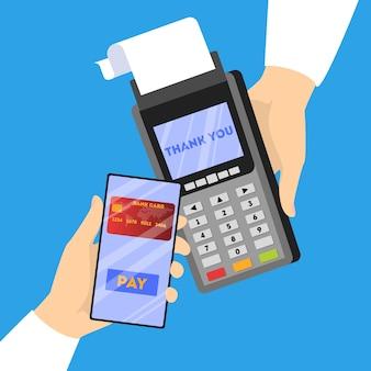 Мобильный платеж одобрен. транзакция цифровых денег через современное устройство. концепция электронной технологии. иллюстрация в мультяшном стиле
