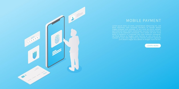 Mobile payment concept in flat isometric vector illustration online banking application with smartphone credit card person scan fingerprint and identification system vector illustration