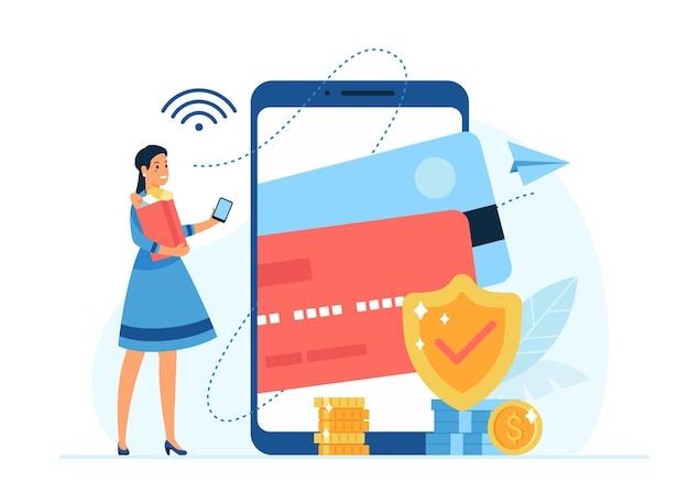 Концепция мобильных платежей плоские векторные иллюстрации обеспеченные денежные операции