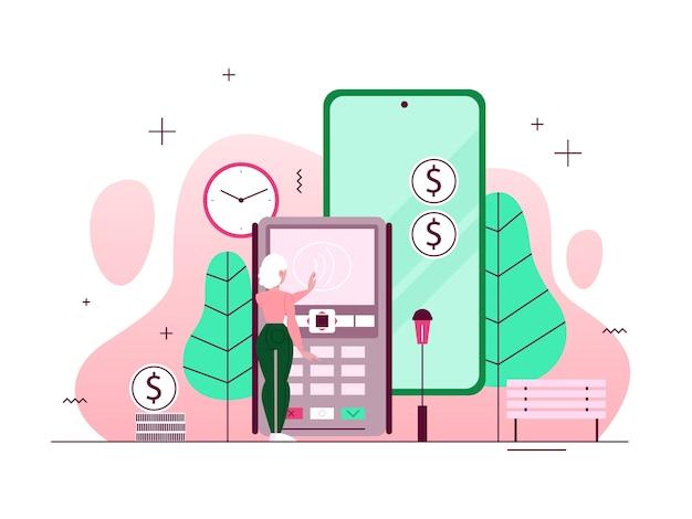 모바일 결제 개념. 온라인 결제 및 디지털 거래에 대한 아이디어. 전자 지갑에있는 돈. 금융 서비스 개념. 삽화
