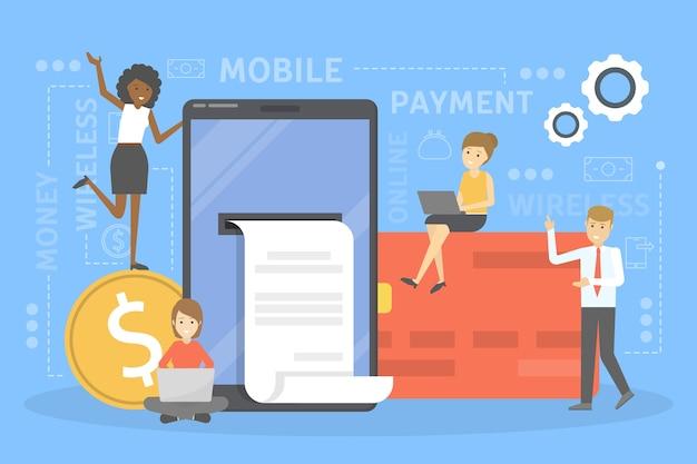 모바일 결제 개념. 디지털 장치에서 돈을 거래하고 영수증을 받으십시오. 현대 기술 및 금융 발전에 대한 아이디어. 삽화