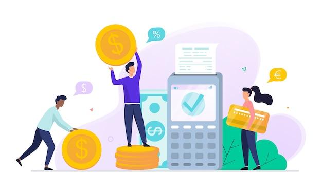 모바일 결제 개념. 디지털 장치에서 돈을 거래합니다. 카드로 nfc에 지불합니다. 현대 기술 및 금융 발전에 대한 아이디어. 삽화