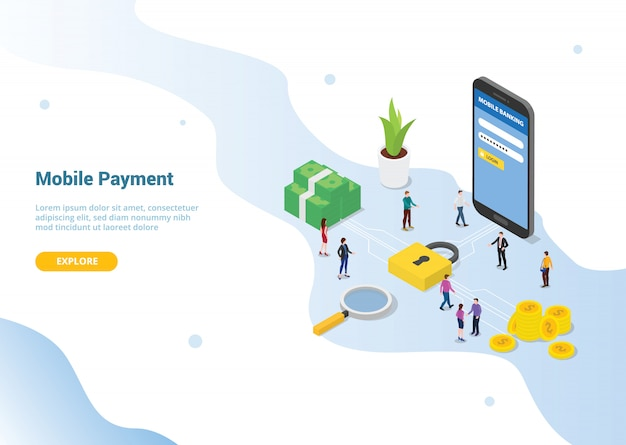 Mobile payment concept for website template landing homepage