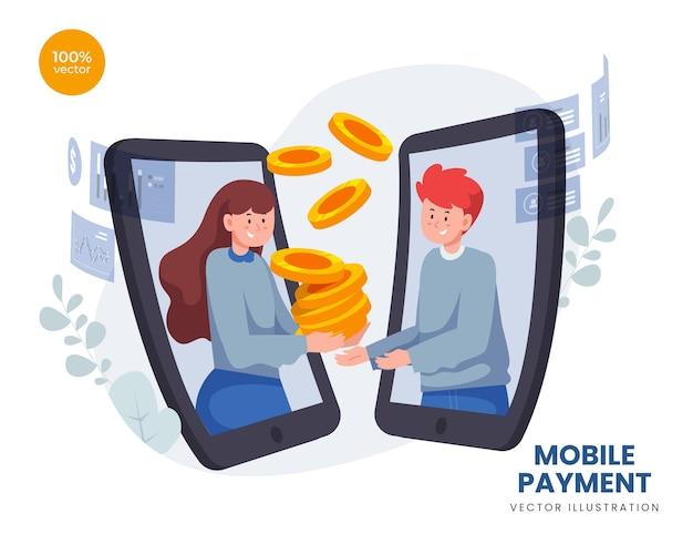 Концепция мобильных платежей с деловым мужчиной и женщиной, использующим онлайн-транзакцию, современный метод электронных финансовых платежей и цифровой экран