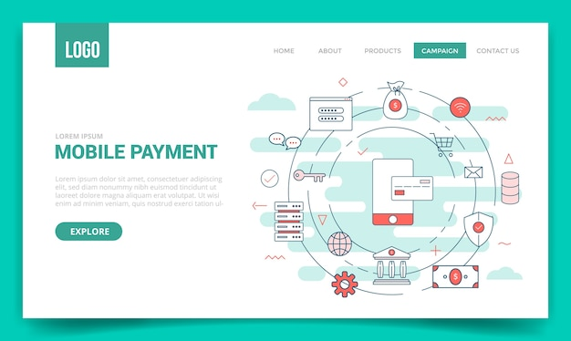 Mobile payment concept with circle icon for website template or landing page